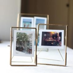"""DANTA Double Sided Antique Brass Freestanding 5"""" X 7"""" Photo Frame - Ayers & Graces"""
