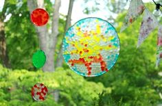 Melted Bead Suncatchers: Use clear pony beads, arranged in a pan or muffin tin, melt in 400 degree oven or grill, pop out when cool, drill hole and hang!