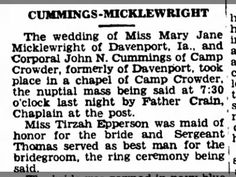 Cummings-Micklewright wedding, Camp Crowder, 1 Aug 1942