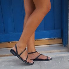 #new #entry #black #handmade #leather #greek #sandals
