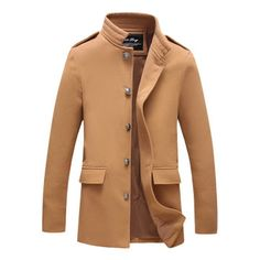 Plus Size Mens Single-breasted Stand Collar Woolen Casual Slim Fit Autumn Winter Coat
