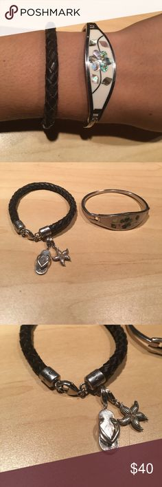 2 Bracelets. A Thomas Sabbath Brown one is a Thomas Sabbath with two charms both silver Thomas Sabo Jewelry Bracelets