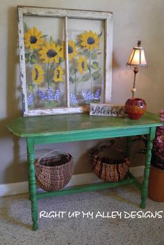 Entryway-Couch table,Hall table,Plasma table,Annie Sloan painted table,Long Table,Antibes Green,Farmhouse,Rustic,vintage table,Spindle table by RightUpMyAlleyDesign on Etsy