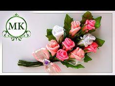 Брошь из лент. Розы. МК. Канзаши. / DIY. Kanzashi. Brooch made of ribbons. Roses. - YouTube