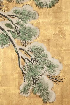 For Sale on - Maruyama Okyo School painting in mineral pigments on heavy gold leaf with a silk brocade border. Japanese Art Styles, Japanese Artwork, Japanese Painting, Japanese Artists, Korean Painting, Chinese Painting, Japanese Christmas, Japanese Tree, Plant Illustration