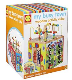 ALEX Discover My Busy Town Wooden Activity Cube - best fun baby 2018 Activity Cube, Activity Centers, Learning Centers, Baby Learning, Best Baby Toys, Alex Toys, Educational Baby Toys, Wooden Cubes, Developmental Toys