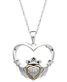 Gold and Sterling Silver Necklace, Diamond Accent Claddagh Pendant - Necklaces - Jewelry & Watches - Macy's Stone Jewelry, Diamond Jewelry, Jewelry Bracelets, Sterling Silver Necklaces, Silver Jewelry, Silver Rings, Disney Fine Jewelry, Claddagh, Jewelry Watches