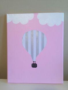Balloon Painting, Painting Canvas, Hot Air Balloon, Kids Decor, Nursery Decor, Decoupage, Balloons, Stripes, Etsy Shop