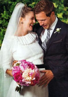 Drew Barrymore & Will Kopelman, married June 2012 at her Montecito, California estate (her third marriage.) Pregnant with daughter Olive Barrymore Kopelman, born Sept. 26, 2012.