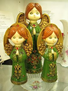 Vintage set of 3 ceramic angels from vendor 36 in case 564. Available at The Brass Armadillo Antique Mall - WheatRidge, CO! (303) 403-1677.