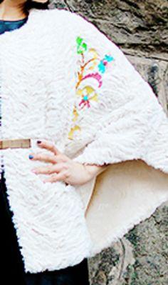 Embroidered cape - detail  #jennyjeshko #embroidery #cape #coat #handmade
