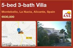 5-bed 3-bath Villa in Montebello, La Nucia, Alicante, Spain ►€630,000 #PropertyForSaleInSpain