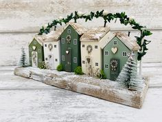 Green Winter scene designed and made by The SeaSalt Shed - www.TheSeaSaltShe… - : Commissioned Green Winter scene designed and made by The SeaSalt Shed - www.TheSeaSaltShe… -Commissioned Green Winter scene designed and made by The SeaSalt Shed - . Christmas Home, Christmas Crafts, Christmas Decorations, Christmas Ornament, Christmas Signs, Small Wooden House, Wooden Houses, Winter Szenen, Driftwood Crafts