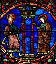 Stained glass - Anne et Joachim (cathédrale de Chartres) Medieval Stained Glass, Stained Glass Angel, Stained Glass Windows, Baroque, Art Roman, Broken Glass Art, Artist And Craftsman, Medieval Art, Colored Glass