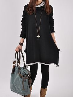Black sweater dress Knitwear wool dress large by FGEmbelishments, $59.00