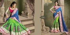 Very beautiful Wedding saree. Blue and Green Colored Viscose with beautiful heavy embroidery work Pallu. Along with Contrast Matching Netted Skirt and Pink Embroidered Silk Blouse