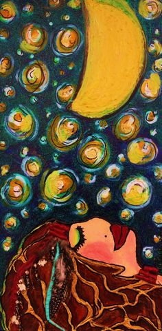 Woman and starry night painting