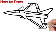 How to Draw a Fighter Jet Airplane Step by Step Airplane Drawing, Easy Drawings For Beginners, Birthday Cards, Happy Birthday, Step By Step Drawing, Simple Art, Learn To Draw, Art Tutorials, Fighter Jets