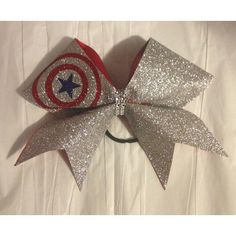 3inch Big Cheerbow Captain America Superhero Silver Glitter Bow (£9.02) ❤ liked on Polyvore featuring accessories, hair accessories, black, ties & elastics, silver hair accessories, glitter hair accessories and hair bow accessories