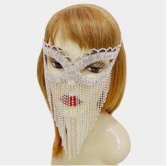Crystal Rhinestone Fringe Drop Cat Eye Mask