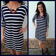 Everyone loves a perfect fitting stripe dress, this one has a shirt tail hem and is such an amazing, high quality knit! $78. Originally available S-XL, now only Med and Large left. Med is a 6/8, large 8/10. Made in USA. We can try to order XS,S and XL. Yala Brand