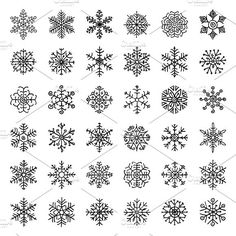 Separate Snowflakes Doodles. PNG, AI. Objects. $5.00