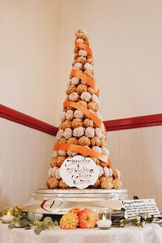 A Croquembouche - a French dessert made of pastries - is a fun traditional wedding cake alternative {Julie Weisberg Photography}