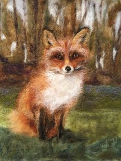 Excited to share this item from my shop: Fox Wool Painting Felted Wool, Wool Felt, Horse Tail, Fox Painting, Felt Pictures, Fibre Art, Picture Sizes, Felt Art, Needle Felting