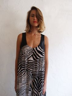 ON SALE OASIS Zebra Print Maxi Dress Boho Chic by SisterMdesigns