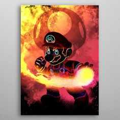 "Beautiful ""Soul of the Red Plumber"" metal poster created by Donnie . Our Displate metal prints will make your walls awesome. Mario Bros., Super Mario, Eden Design, Hero Poster, Poster Making, Anime, New Artists, Cool Artwork, Poster Prints"