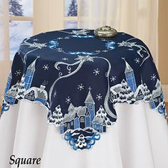 Christmas Town Snowy Night Beautiful Embroidered Table Square *** You can find more details by visiting the image link.
