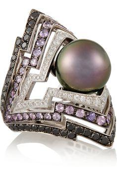 Stephen Webster|Lady Stardust 18-karat white gold multi-stone ring|NET-A-PORTER.COM