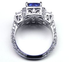 European Engagement Ring - Emerald Cut Blue Sapphire Vintage Design Halo Ring with trapezoids side stones
