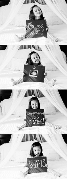 Such a cute way for a little girl to announce she is going to be a sister!