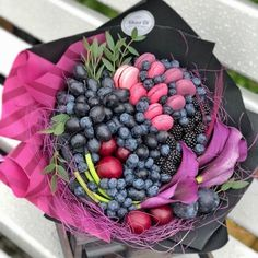 Flower Box Gift, Flower Boxes, Food Bouquet, Edible Bouquets, Candied Fruit, Purple Party, Edible Arrangements, Hampers, Creative Gifts