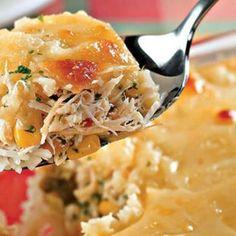 Arroz de forno com frango,milho e queijo