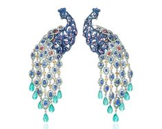 Take three, of the favourite high jewellery from Paris Couture Week. Three spectacular pieces of high jewellery from Chopard, Bulgari and Chanel stole the show at Paris Couture Week. Peacock Jewelry, Peacock Earrings, Bird Jewelry, Animal Jewelry, Jewelry Art, Gemstone Jewelry, Jewelery, Vintage Jewelry, Fashion Jewelry