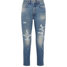 FRAME Rigid Re-Release Le Original Skinny distressed high-rise jeans ($365) ❤ liked on Polyvore featuring jeans, pants, super skinny jeans, high waisted ripped jeans, ripped jeans, blue skinny jeans and high waisted skinny jeans