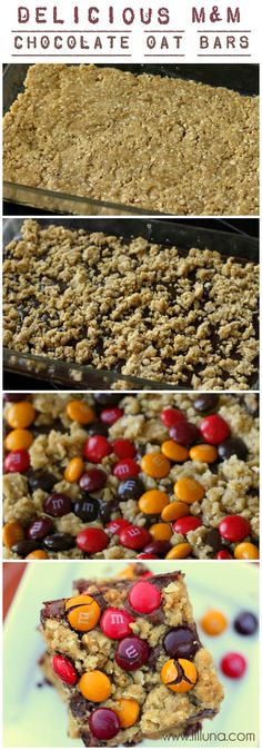 Easy and Delicious M&M Chocolate Oat Bars