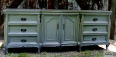 Grey French Provincial Dresser – Tuesday's Treasures – FunCycled Grey Furniture, Painted Furniture, Furniture Projects, Furniture Makeover, French Provincial Dresser, Awesome Bedrooms, Buffet, Home And Garden, Cabinet