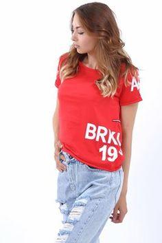 Detayları Göster Brklyn 1996 Baskılı Kırmızı Salaş T-Shirt