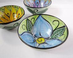 Ceramic Serving Bowl Pottery Blue Flower by ClayLickCreekPottery Pottery Bowls, Ceramic Pottery, Pottery Art, Painted Pottery, Modern Ceramics, Contemporary Ceramics, Ceramics Ideas, Ceramic Painting, Ceramic Art