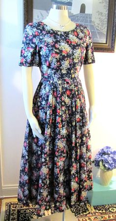 Laura Ashley dress, perfect for fall with a navy cardigan.