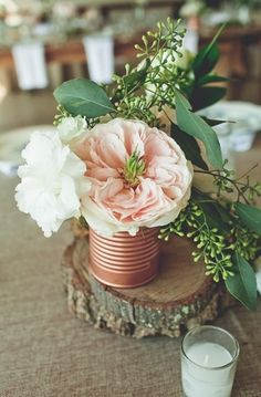 Wedding Decor: Tin cans and other simple containers for floral wedding decor! // via smitten magazine photography by By Shea Tin Can Centerpieces, Wedding Reception Centerpieces, Wedding Bouquets, Wedding Flowers, Centrepieces, Wedding Dresses, Farm Wedding, Wedding Table, Rustic Wedding