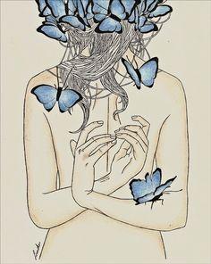 """Gillespie"" by Linniker F. de Oliveira #butterflies #drawing #art #illustration #ink #morbid #linniker #ghost #depression"
