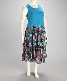 Take a look at this Blue Multi Plus-Size Dress by Kaktus on #zulily today!