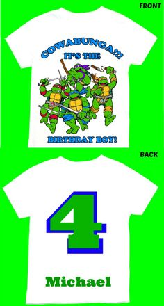 Ninja turtle Birthday Boy T-shirt Personalized 1st 2nd 3rd 4th 5th 6th Personalization is included at no additional cost. by FantasyKidsDesigns on Etsy https://www.etsy.com/listing/206924951/ninja-turtle-birthday-boy-t-shirt