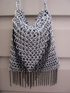 Bright Aluminum Chainmaille Purse With Black Chain Fringe - Spawnofthestorm
