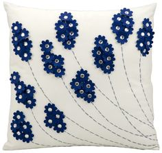 Felt Flowers Throw Pillow