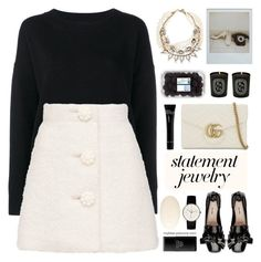 """""""Statement Jewelry"""" by mylkbar ❤ liked on Polyvore featuring Frame, Lulu Frost, Bobbi Brown Cosmetics, Gucci, LAFCO, Diptyque, Junghans, Shiseido, contestentry and polyPresents"""